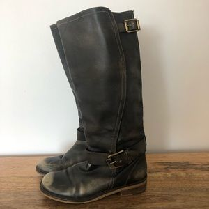 Lucky Brand Angel Black Leather Riding Boots